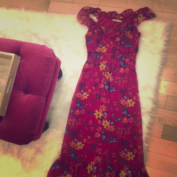 Maxi pink floral dress from old navy vintage